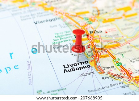 Close up of  Livorno  , Italy map with red pin    - Travel concept - stock photo