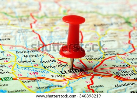 Close up of Lleida ,Spain map with red pin - Travel concept - stock photo