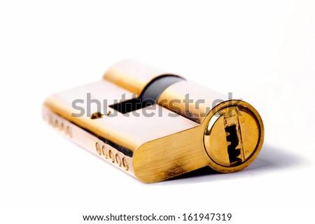 Close up of lock bolt isolated on white background - stock photo