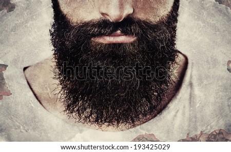 Close up of long beard and mustache man - stock photo