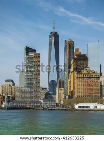 Close-Up of lower Manhattan cityscape, New York City, USA - stock photo