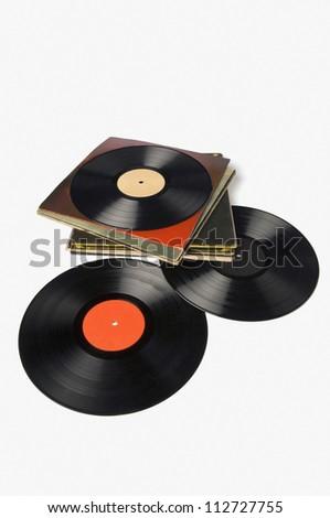 Close-up of LP discs - stock photo