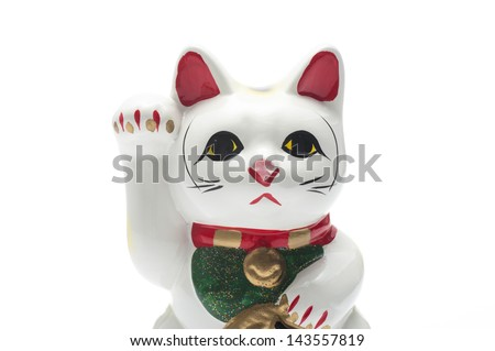 close-up of lucky cat on white background