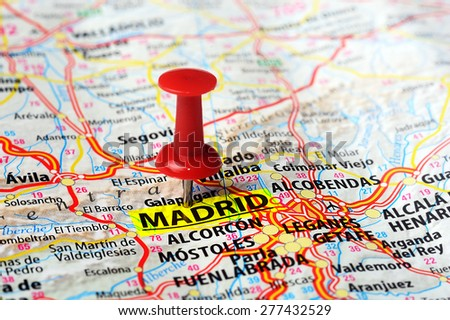 Close up of Madrid  ,Spain map and red pin - Travel concept - stock photo