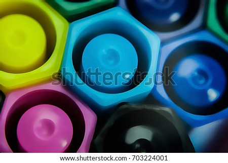 Close-up of magic color pens  on a white surface for art work or for children coloring to practice skills.