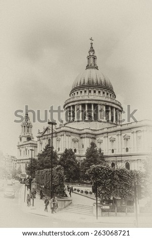 Close up of magnificent St. Paul Cathedral in London. It sits at top of Ludgate Hill - highest point in City of London. Cathedral was built by Christopher Wren between 1675 and 1711. Antique vintage. - stock photo