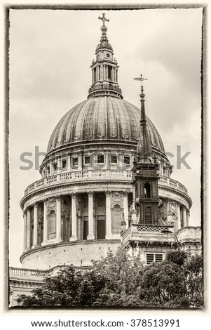 Close up of Magnificent St. Paul Cathedral in London. It sits at top of Ludgate Hill - highest point in City of London. Cathedral was built by Christopher Wren between 1675 & 1711. Ancient photo style