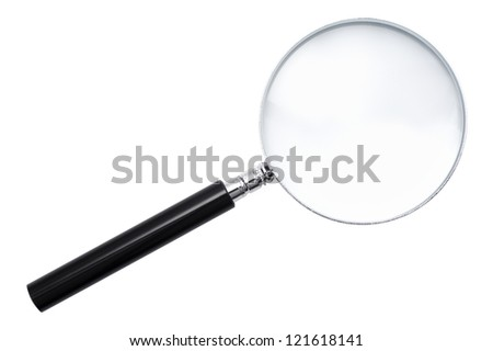close-up of magnifying glass isolated on white background - stock photo