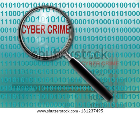 Close up of magnifying glass on cyber  crime - stock photo