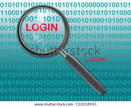 Close up of magnifying glass on login - stock photo