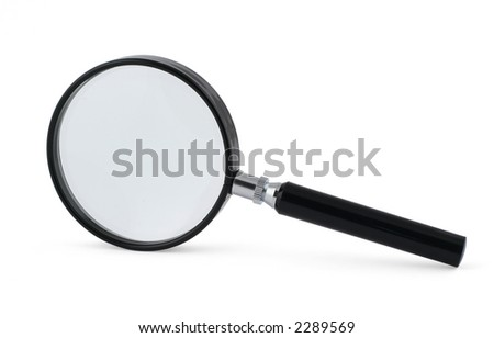 close-up of magnifying glass on white