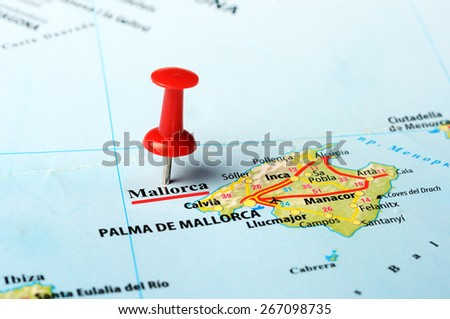 Close up of  Majorca  island , Spain  map with red pin - stock photo