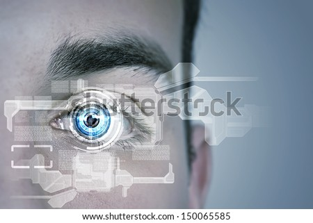 Close up of male eye scanned for recognition - stock photo