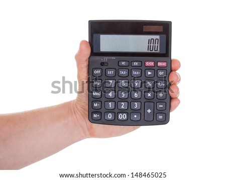 Close-up Of Male Hand Holding Calculator Over White Background - stock photo