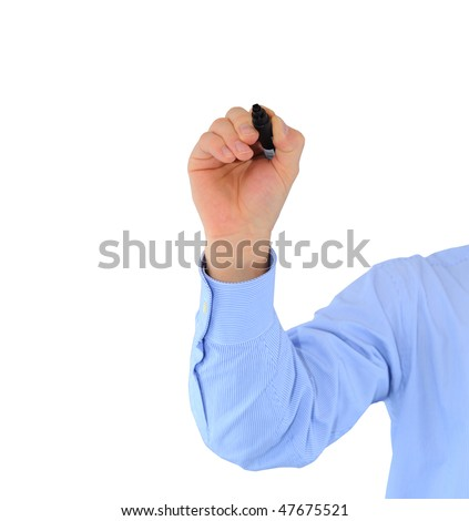 Close-up of male hand with black highlighter ready to write something - stock photo