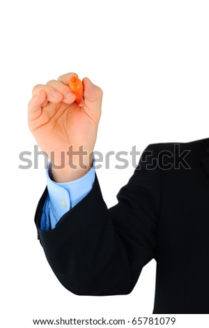 Close-up of male hand with orange highlighter ready to write something - stock photo
