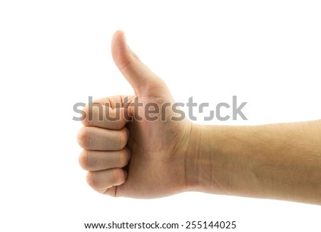 Close-up of male hand with thumb up isolated on white background - stock photo