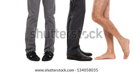 Close up of male legs and feet - stock photo