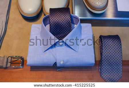 Close up of male shirt and necktie - stock photo