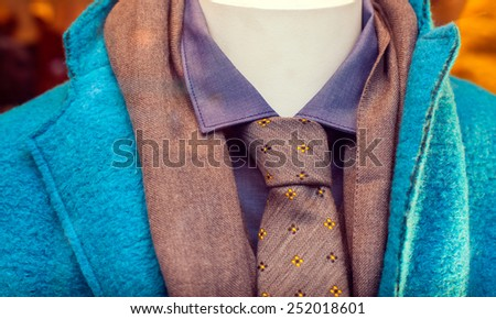 Close up of male suit exposed in the clothes shop - stock photo
