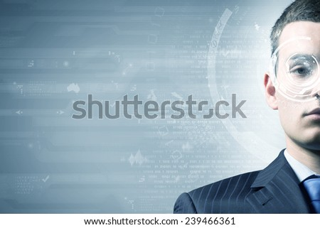Close up of man eye with digital icons - stock photo