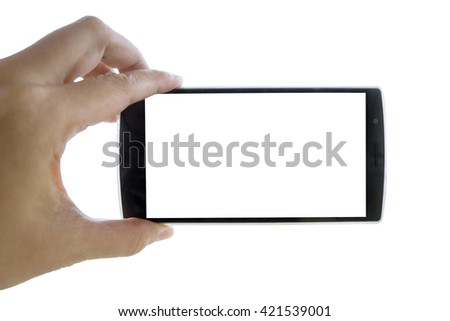 Close up of man hand holding a smartphone with blank screen, isolated on white background