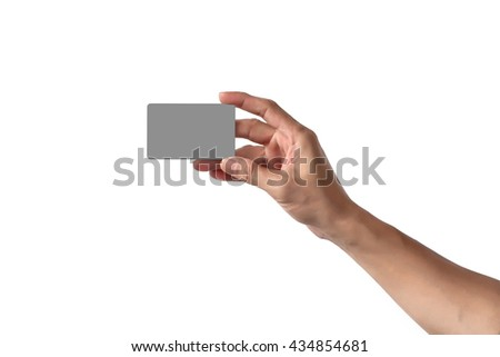 Close-Up of man hand holding blank empty credit card or business card., Isolated on white background. - stock photo