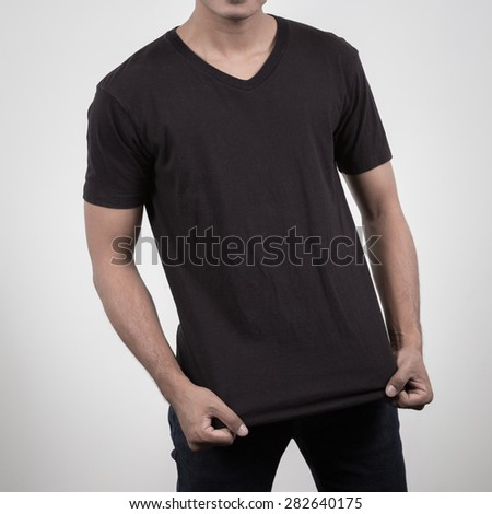 close up of man in blank t-shirt  - stock photo