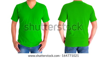 close up of man in blank V-neck short sleeve green t-shirt