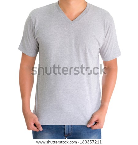 close up of man in blank V-neck short sleeve t-shirt