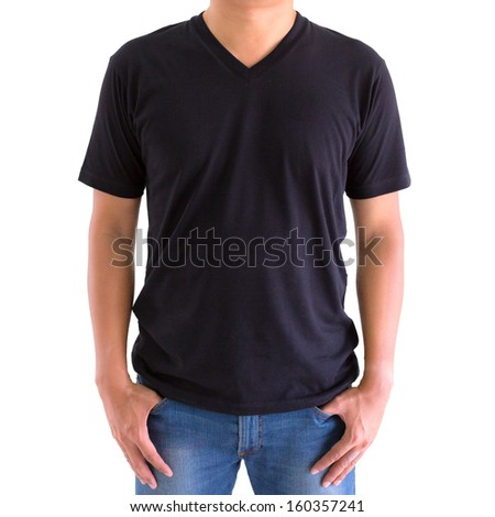 close up of man in blank V-neck short sleeve t-shirt - stock photo