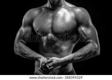 Close-up of man model torso posing showing perfect body - stock photo