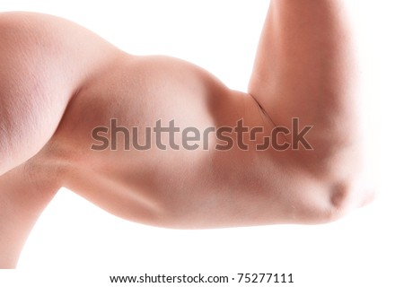 Close up of man's arm showing biceps - stock photo