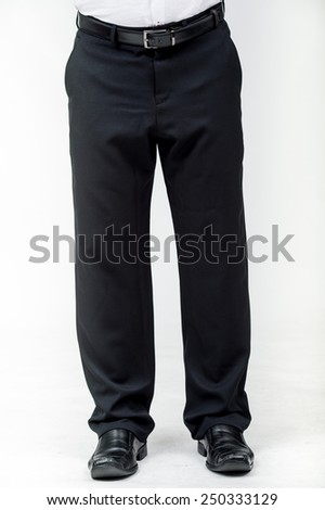 Close up of man's business pants., Fashion concept with trousers on white