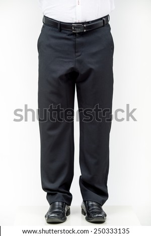 Close up of man's business pants., Fashion concept with trousers on white - stock photo
