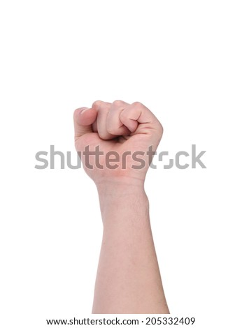 Close up of man's fist. Isolated on a white background.