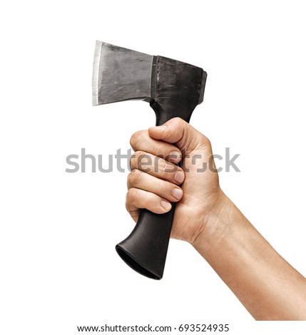Close up of man's hand holding an axe isolated on white background. High resolution product