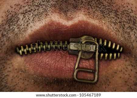 Close up of man's mouth with bronze or gold metal zipper closing lips shut. - stock photo