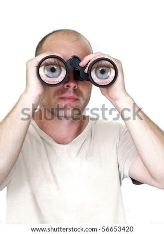 close up of man watching through binocular - stock photo