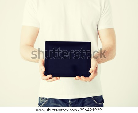 close up of man with tablet pc - stock photo
