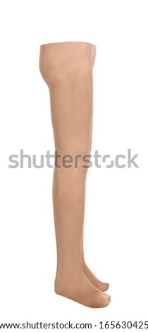Close up of mannequin male legs. Isolated on a white background.