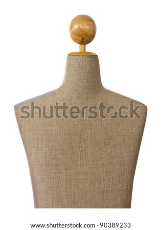 close up of mannequin on white background with clipping path