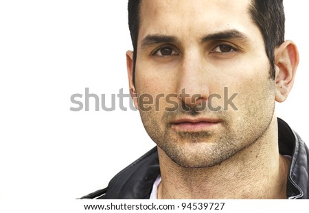 Close up of mans face.  Image isolated against white. - stock photo