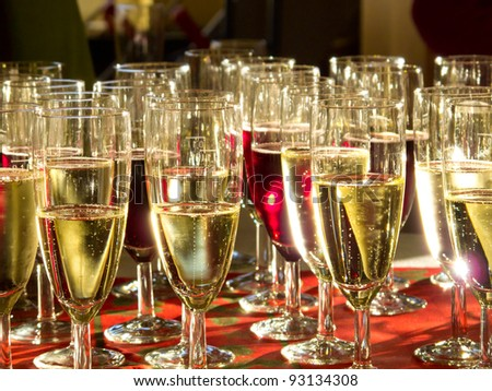 Close up of many champagne glasses - stock photo