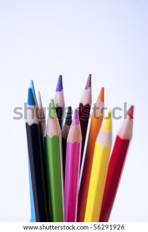 Close up of many colored pencils isolated