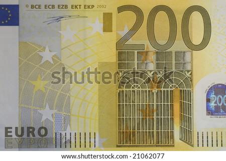 Close up of many European hundred euros - 200 â?¬. - stock photo