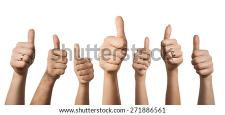 Close up of many hands showing thumbs up, isolated on white background - stock photo