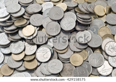 close-up of many hungarian coins