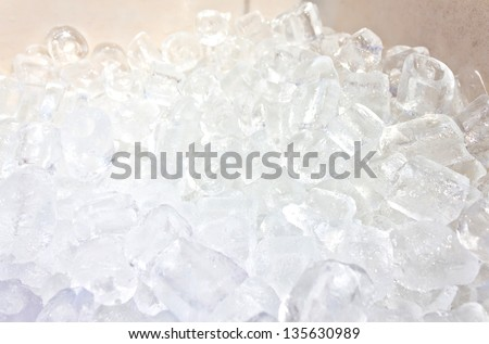 close up of many ice cubes in the box - stock photo