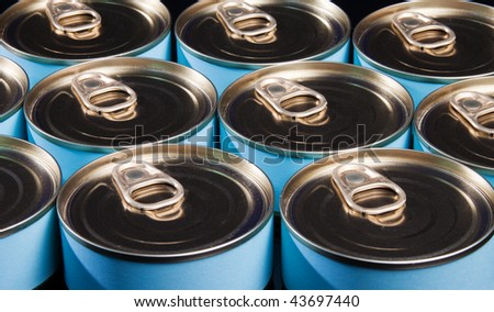 Close up of many ring pull cans - stock photo